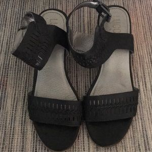 Lucca Lane Black & Tan Wedge Heel Leather Sandals